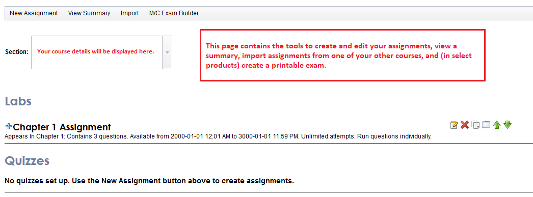 instructor tools edit assignments page main features  assignments tab
